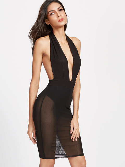 Sian black halter neck dress