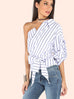 Olympia stripe one shoulder top