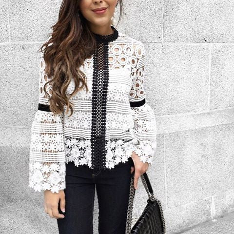 Kylie black and white crochet top
