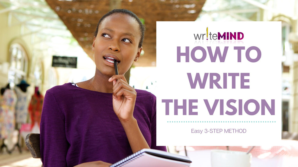 Black woman wearing purple and thinking while she's writing in a journal