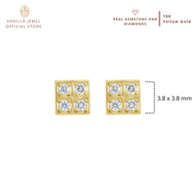 Load image into Gallery viewer, Diamond Checker Stud Earring