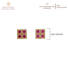 Load image into Gallery viewer, Sapphire Checker Stud Earring
