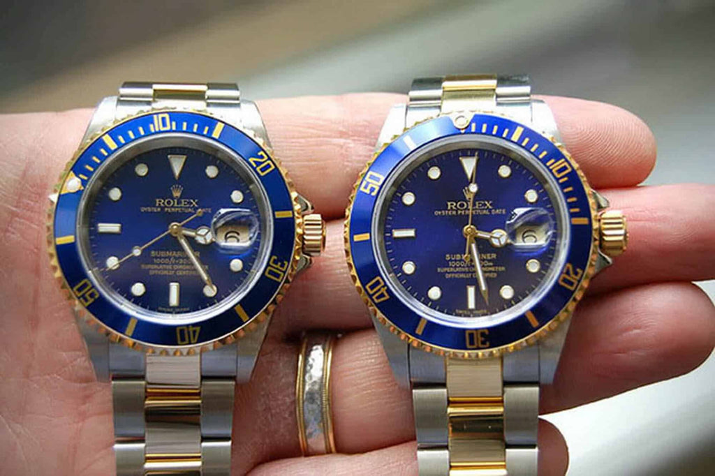 """One real and one fake Rolex Submariner """"Bluesey"""" side-by-side comparison"""