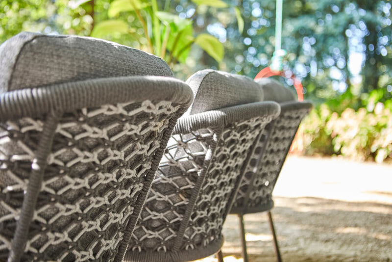 Nappa diningchair macrame weaving carbon grey