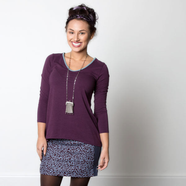 Anya Top in Amethyst shown with Grace Skirt in Mystic Print