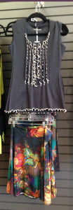 Beautiful Salaam skirt pairs well with this Laura Hlavac top, with ruffles or without.