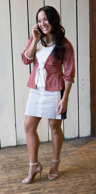 Tie-front Cardigan, Swing Tank and Yoked Skirt