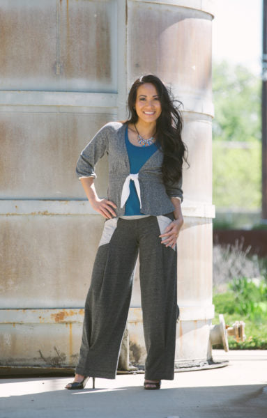 Wide Leg Pants shown with Artemis Tank and Pheobe Cardigan