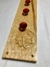Load image into Gallery viewer, Coat/jewelry Wall Rack Birdseye Maple wood with Red Crystal Knobs 181112