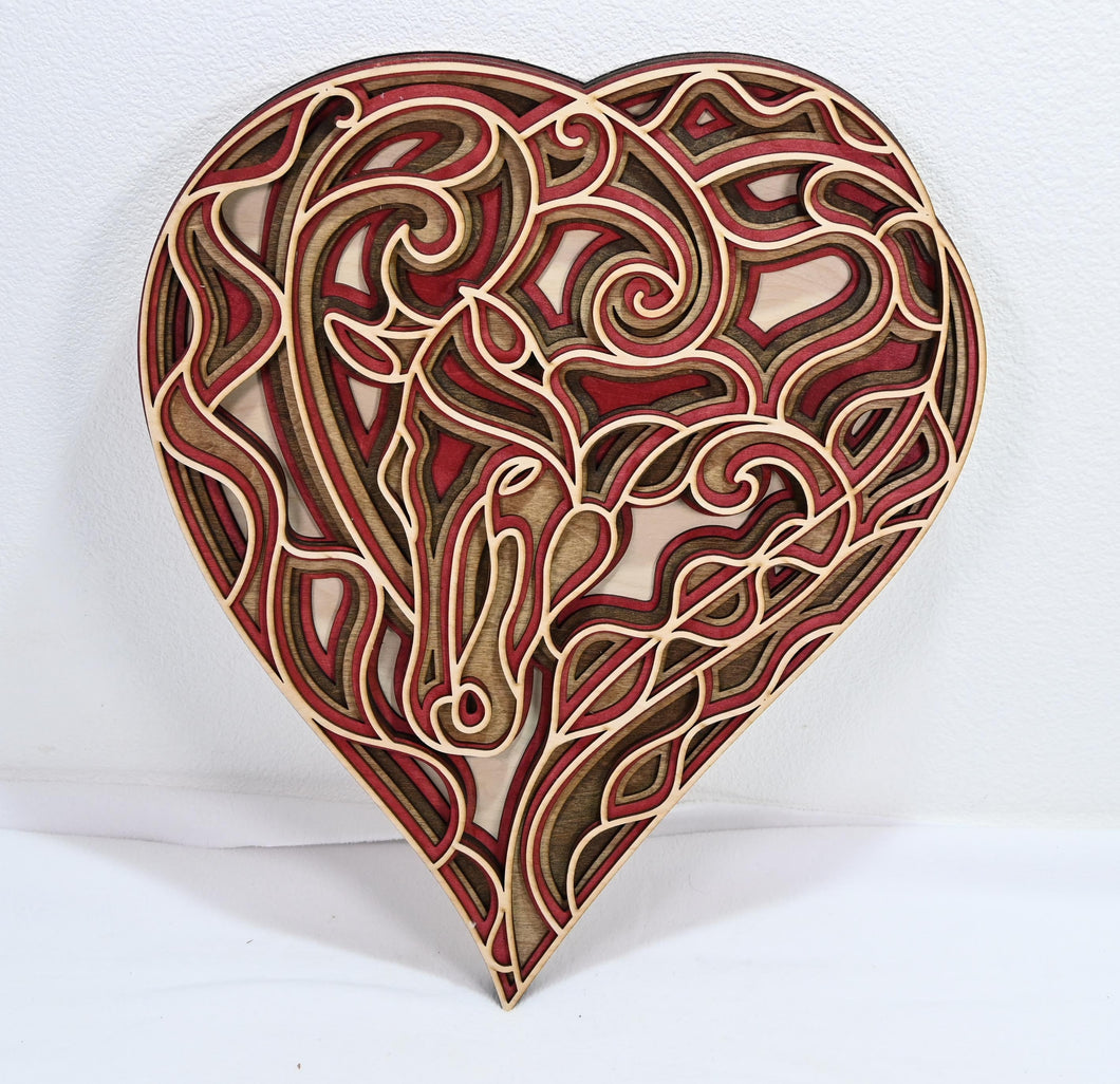 Wall Decoration Mandala 3D Art Multilayer Large Heart Horse Wood Love Art