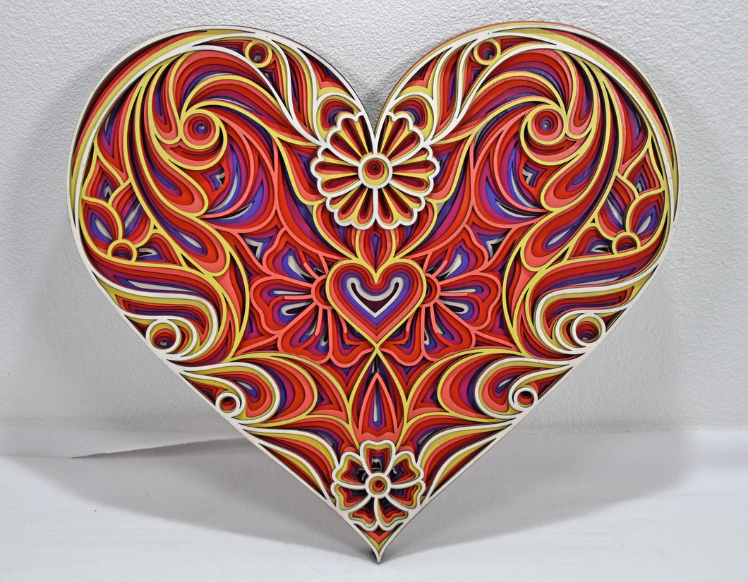 Wall Decoration Mandala 3D Art Multilayer Large Floral Heart Wood Flower Love Art  202102112
