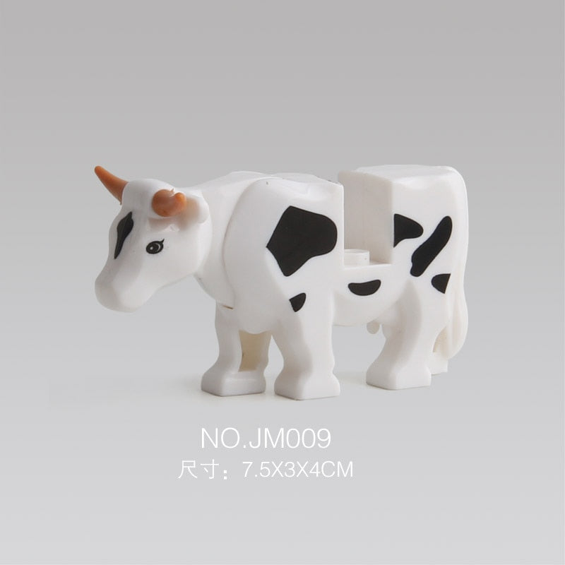 City Cow Animals Figures Model Building Blocks Toys For Children Figure Gifts Cow Animal Farm Learning Kids Toys
