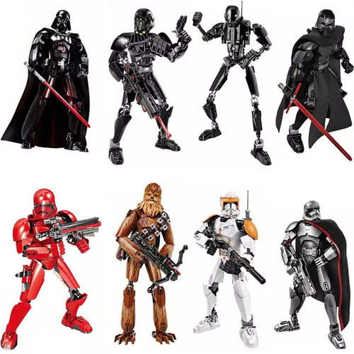 Star Wars Buildable Figure Stormtrooper Darth Vader Kylo Ren Chewbacca Boba Jango Fett General Grievou Puzzle Blocks Toy For Boy