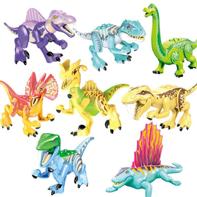 World Dinosaurs Big Size Locking Animals Jurassic Dinosaur Set 12*8.5 cm 8 Tyrannosaurus Gifts For Children Compatible Block Toy