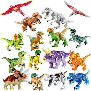 Locking Jurassic Dinosaurs Tyrannosaurus Rex Pterosauria Triceratops Building Blocks Toys For Children Assemble Dinosaur Locking