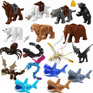 Locking Animals Wild Wolf Spider Bear Tiger Shark Building Blocks Toys for Children Compatible with Locking Animals Kids Gifts