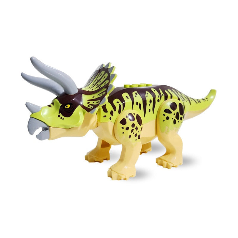 Dinosaur Jurassic Green Triceratops Cultivate Interest Birthday Present Educational Building Blocks Suitable for Kids Dinosaur (HTHM007)