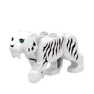 Locking City Animals Compatible Educational Toys Accessories Child's Birthday Oresent White Tiger Building Blocks Figures Madel