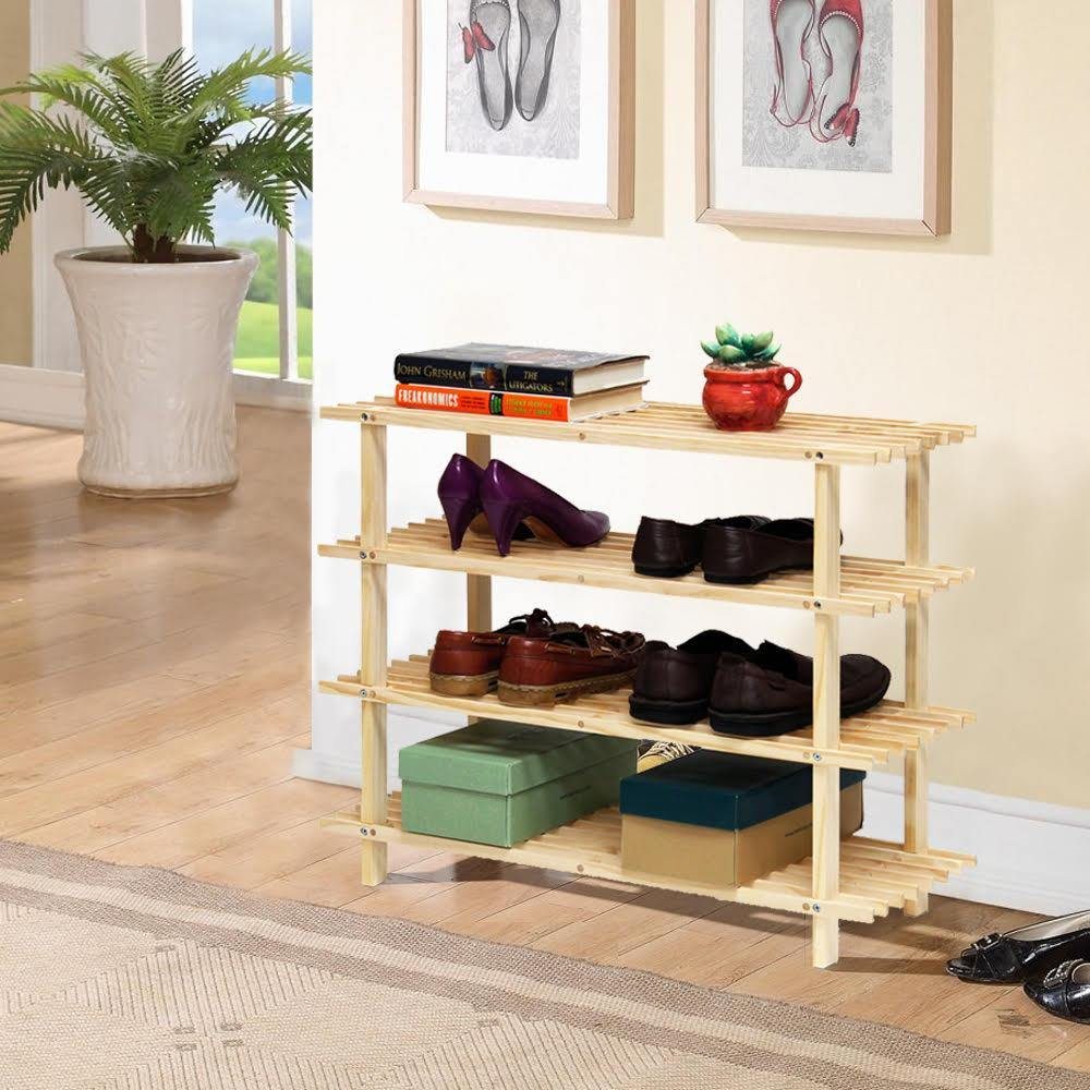 4 TIER WOOD SHOE RACK