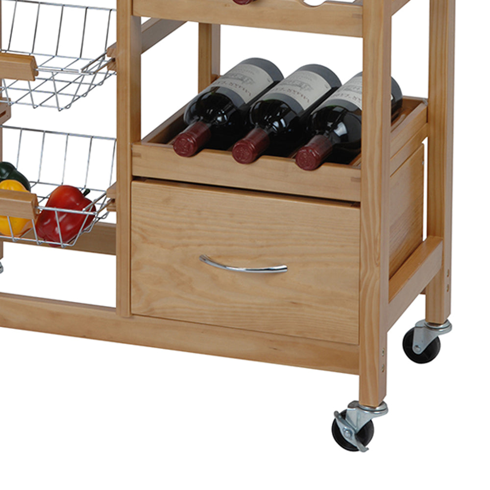 Pinewood Kitchen Trolley - Ecolifestyle.shop