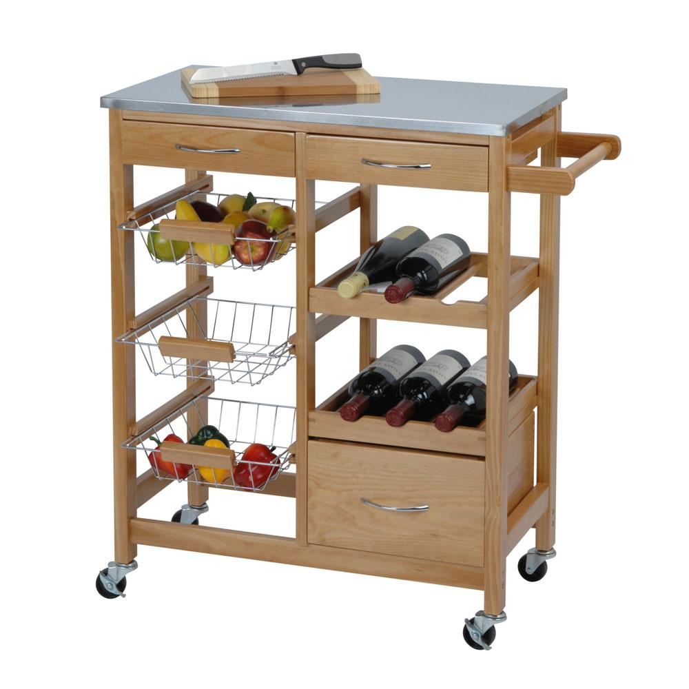 Kitchen Trolley made from Pinewood - Ecolifestyle.shop