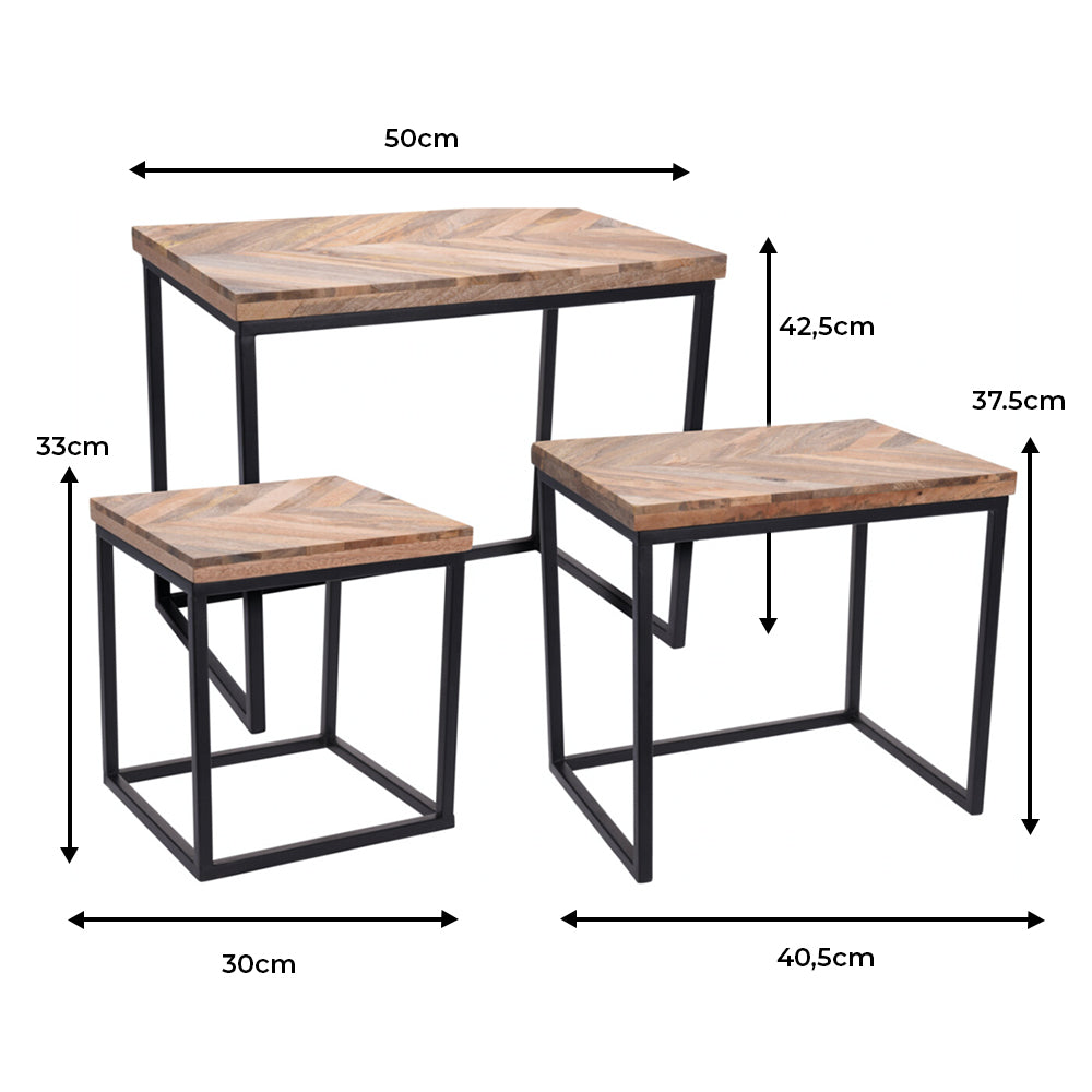 Mango Wood Table - Set of 3 - Ecolifestyle.shop