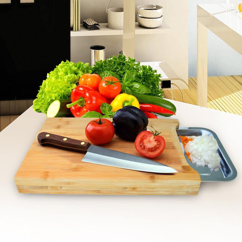 CUTTING BOARD WITH TRAY HOLDER