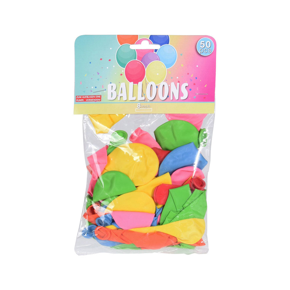 COLOURFUL LATEX BALLOONS - 50PC