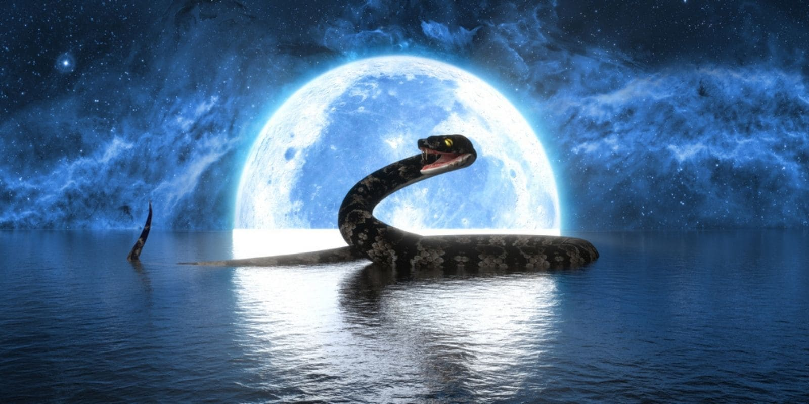 Huge snake in the ocean with the moon behind. Snake Dream