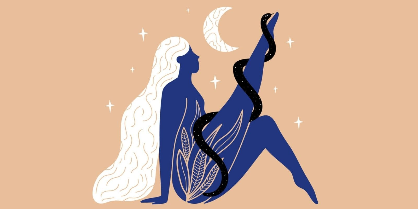 Image of a woman with a snake enrolled around her leg and with the moon up in the sky
