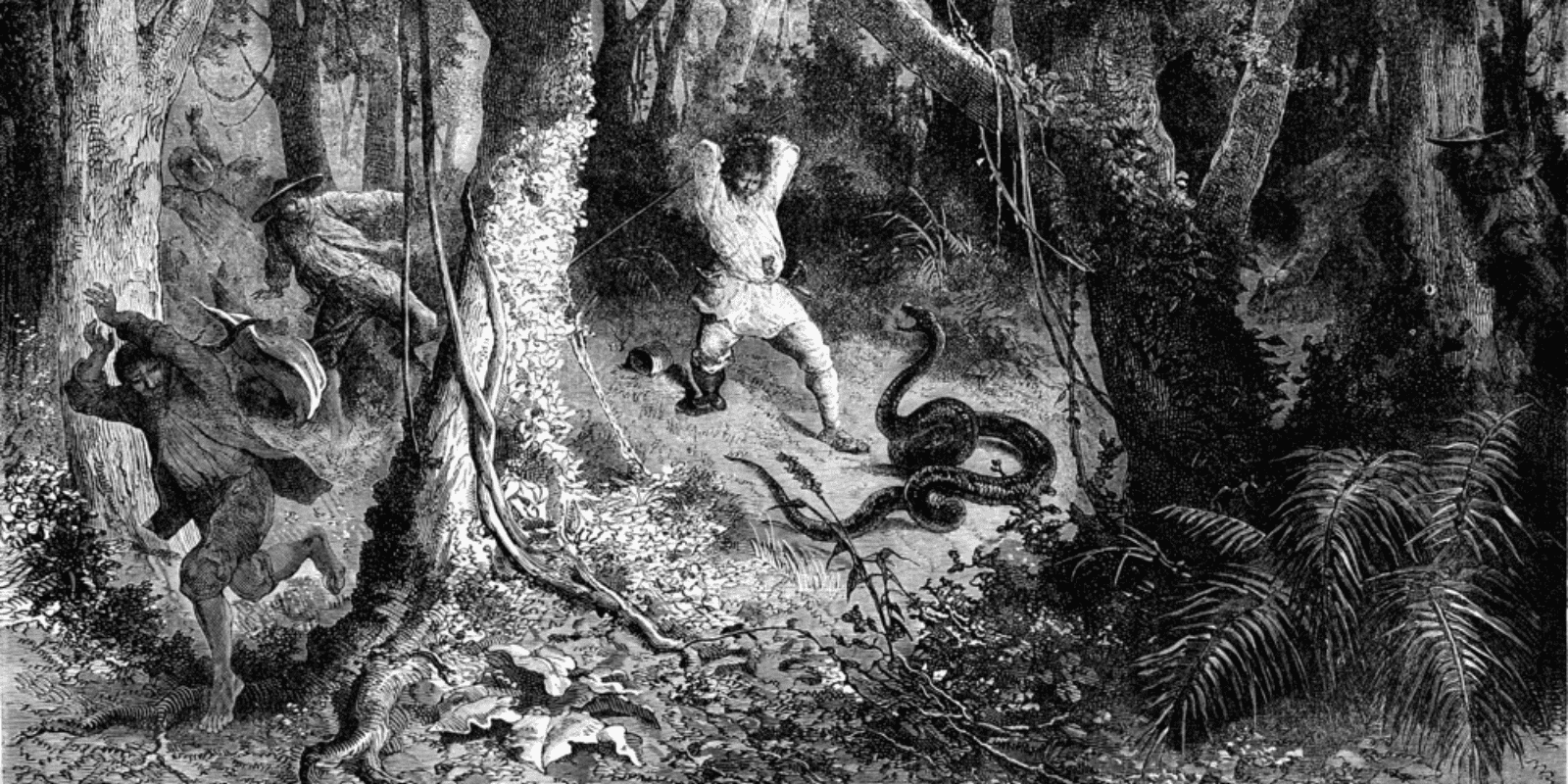 Painting of men chasing by snakes in a forest