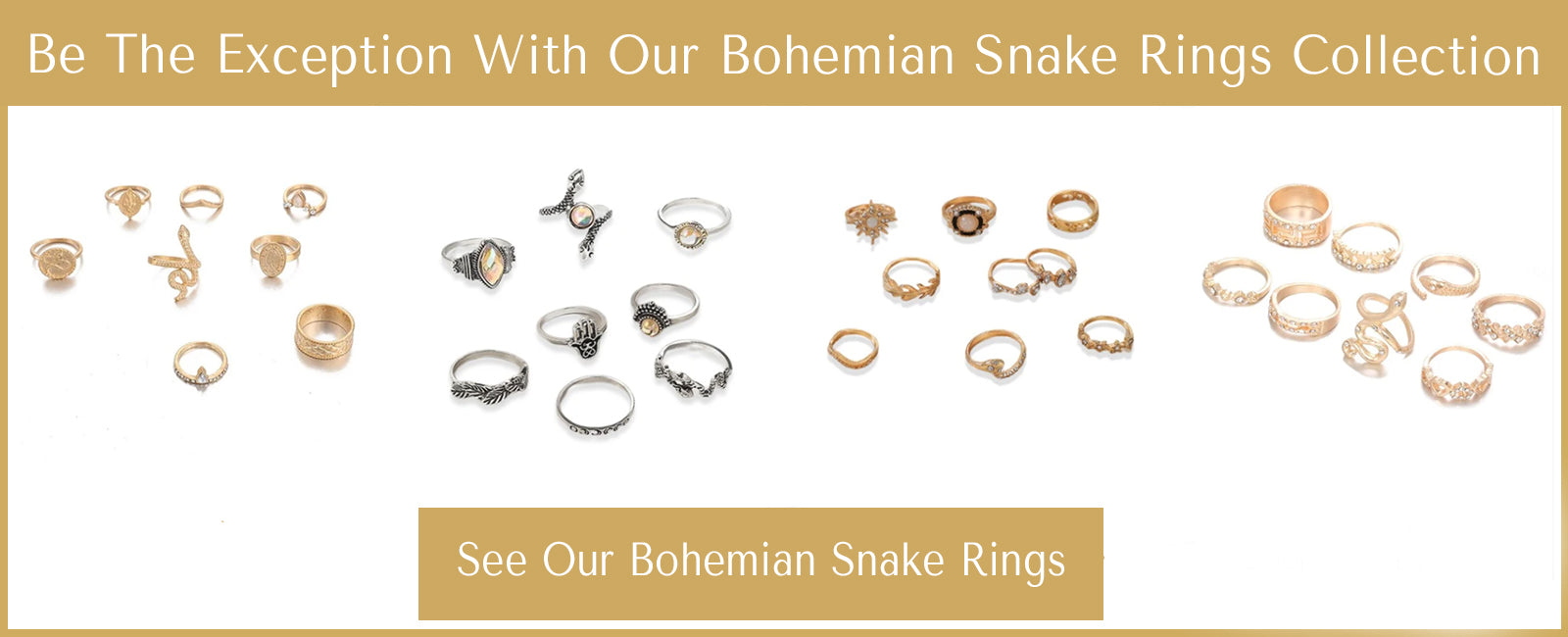 bohemian snake rings collection