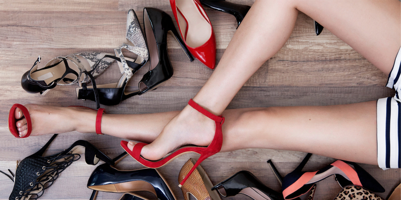 Woman with many shoes