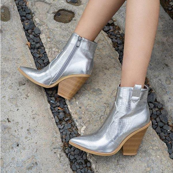 Womens snake booties silver