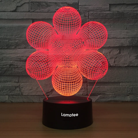 Abstract Flower 3D Illusion Lamp Night Light 3DL1019