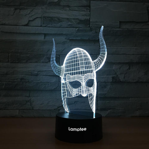 Image of Art Warrior Helmet 3D Illusion Lamp Night Light 3DL1243