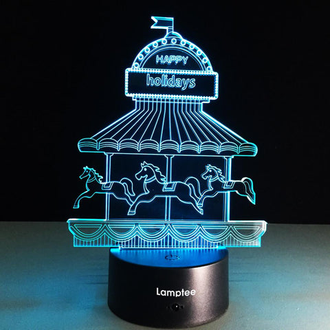 Building Romantic Carousel 3D Illusion Lamp Night Light 3DL147