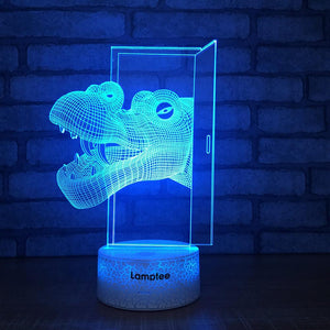 Crack Lighting Base Animal Dinosaur Through the Door 3D Illusion Night Light Lamp 3DL1512