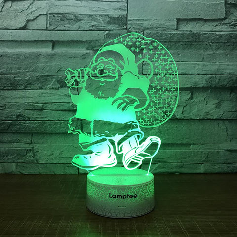 Crack Lighting Base Festival Christmas Santa Claus Carton 3D Illusion Lamp Night Light 3DL1616