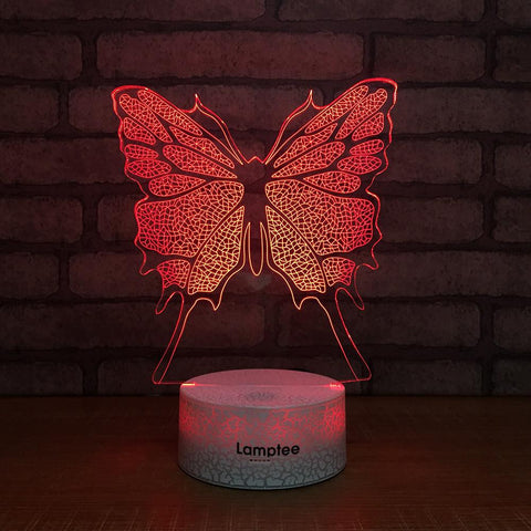 Crack Lighting Base Animal Butterfly 3D Illusion Lamp Night Light 3DL167
