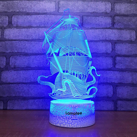 Crack Lighting Base Traffic Sailing Boat 3D Illusion Lamp Night Light 3DL1741