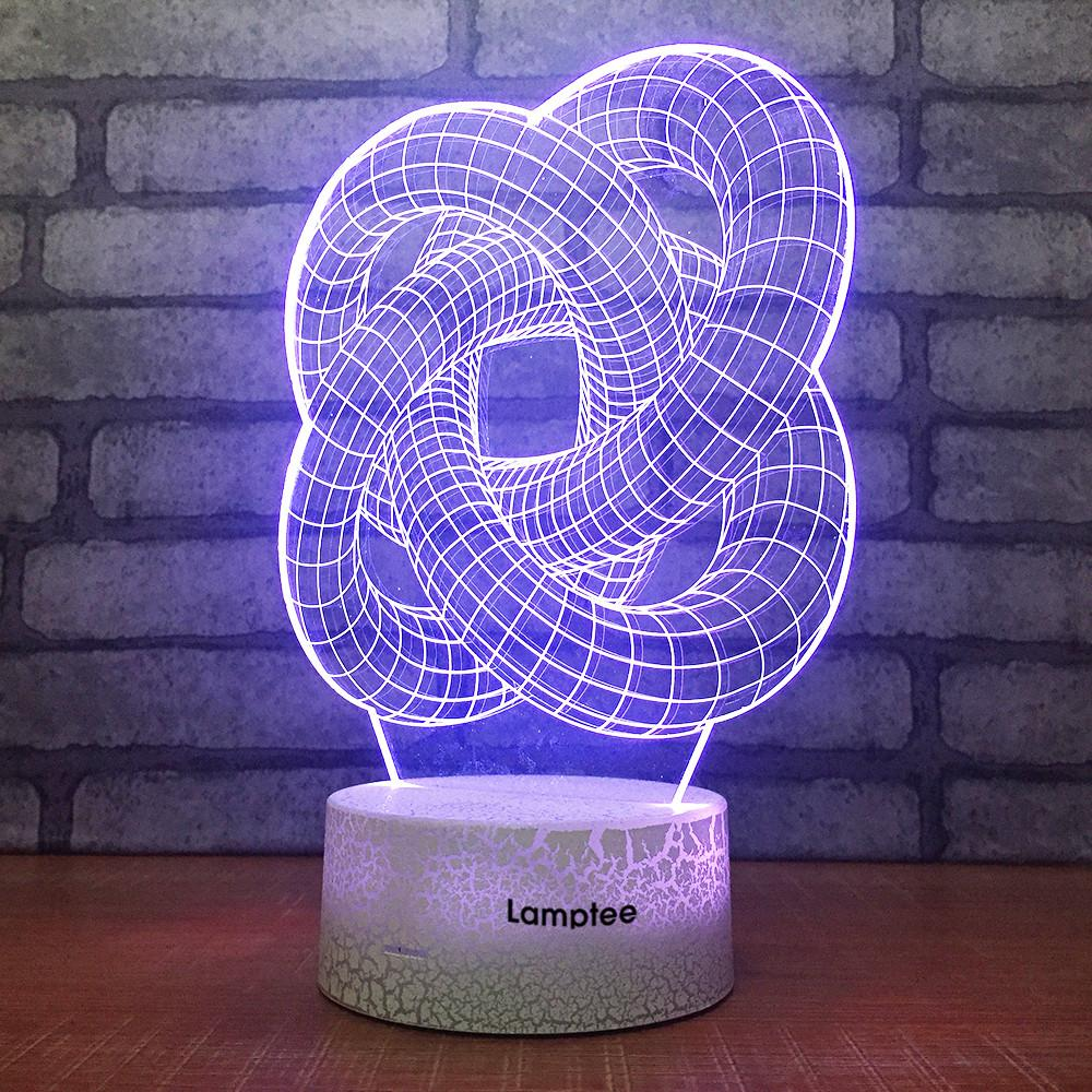 Crack Lighting Base Abstract Rings 3D Illusion Lamp Night Light 3DL1917