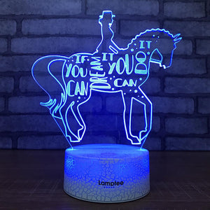Crack Lighting Base Art Girl And Horse 3D Illusion Lamp Night Light 3DL1923