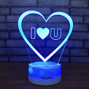 Crack Lighting Base Festival I Love U 3D Illusion Lamp Night Light 3DL1973