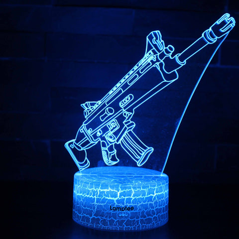 Anime Fortnite Suppressed Assault Rifle Suppressed Scar 3D Illusion Lamp Night Light NL2814
