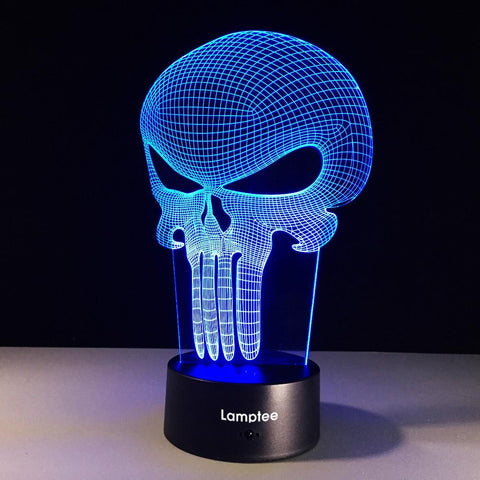 Image of Art 3D Figure Punisher Hero Skull 3D Illusion Lamp Night Light 3DL319
