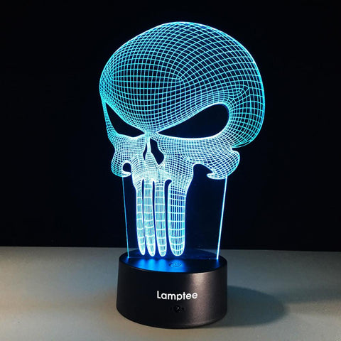 Art 3D Figure Punisher Hero Skull 3D Illusion Lamp Night Light 3DL319