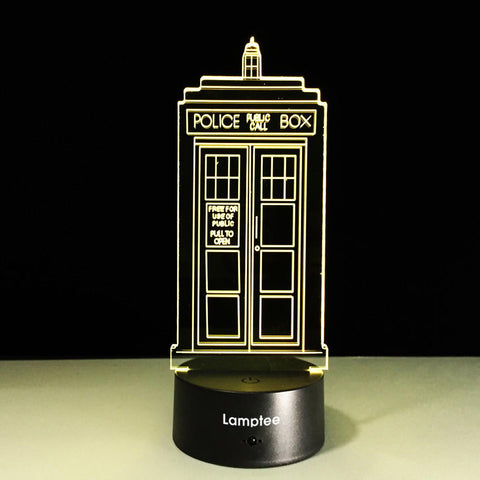 Building Creative Telephone Booth Modelling 3D Illusion Lamp Night Light 3DL352