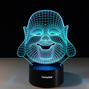 Art Religious Maitreya Buddha 3D Illusion Lamp Night Light 3DL504