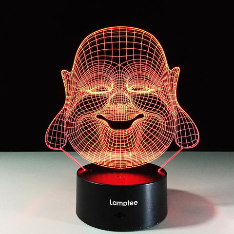 Image of Art Religious Maitreya Buddha 3D Illusion Lamp Night Light 3DL504